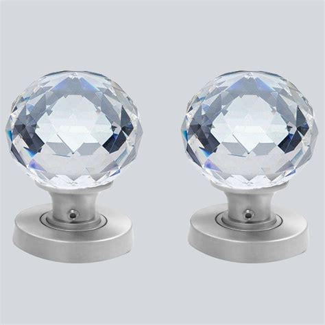 Crystal Cut Glass Door Knobs 60mm Pair The Ceramic Store Door Knobs Glass