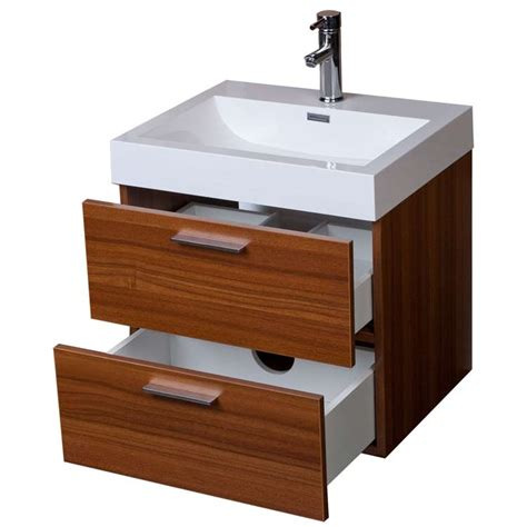 modern floating bathroom vanity teak two drawers free