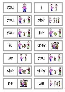 subject pronouns domino worksheet free esl printable