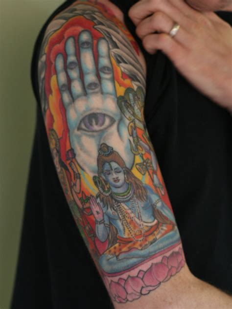 religious half sleeve tattoo color ink religious hindu god shiva half sleeve