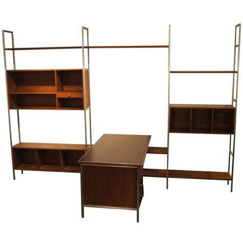 modular wall shelves walnut modular wall shelving system with desk by paul