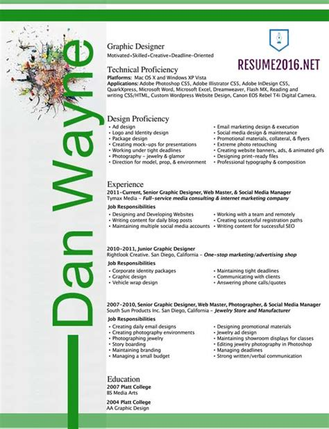 Resume Templates For Graphic Designers by Graphic Designer Resume Sles 2016