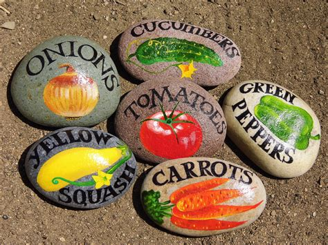 Mark Your Garden With Vegetable Signs On The Rocks Gift Price Vegetable Garden Markers