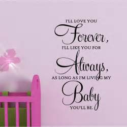 Ll love you forever baby vinyl wall quote by spiffydecals