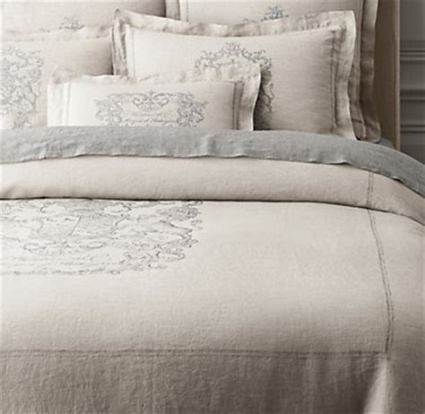 Vintage Washed Linen Duvet Cover wentworth crest vintage washed belgian linen duvet cover