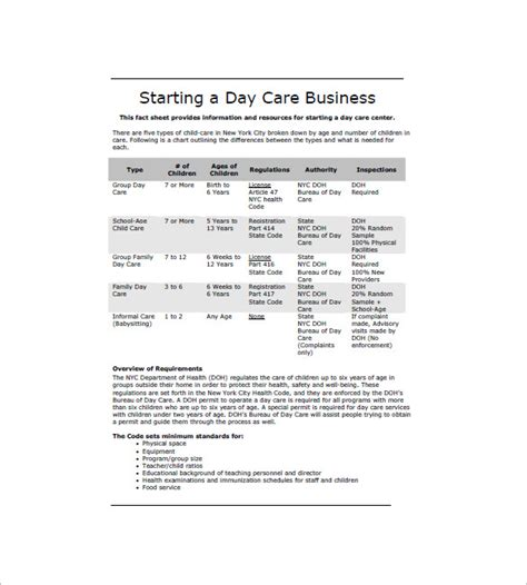 Template For Preschool Business Plan | daycare business plan template 12 free word excel pdf