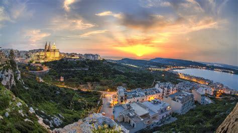 coast lights beautiful island of malta at sunset sky coast