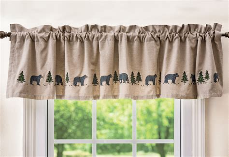 black bear kitchen curtains black bear embroidered valance