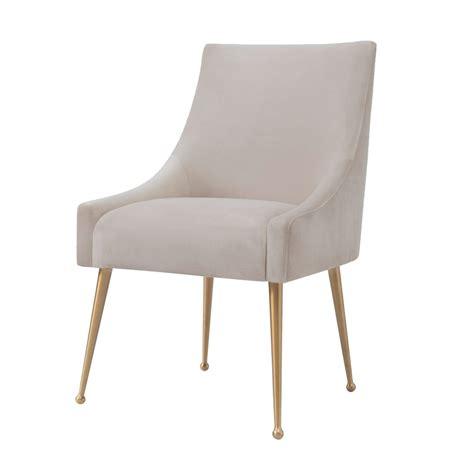 Velvet Dining Chairs Brass Leg Velvet Dining Chair In Beige