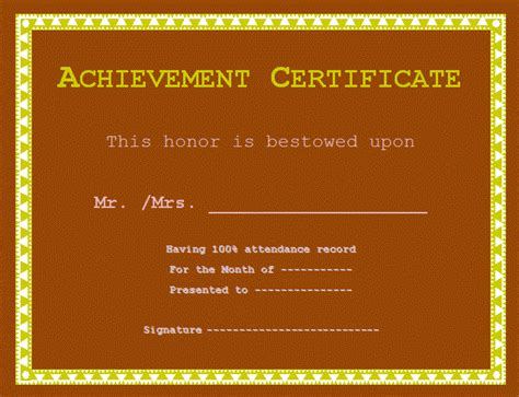certificate of achievement exles free word s templates