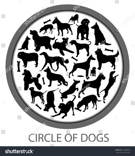 how many sets of do puppies get circle of dogs includes many races and bones stock vector illustration 137248268