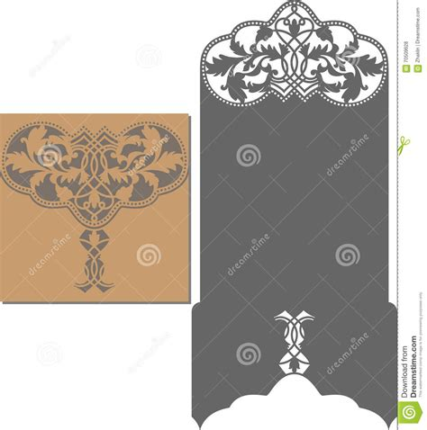 Wedding Card Paper Cutting Templates - laser cut pattern for invitation card for wedding stock