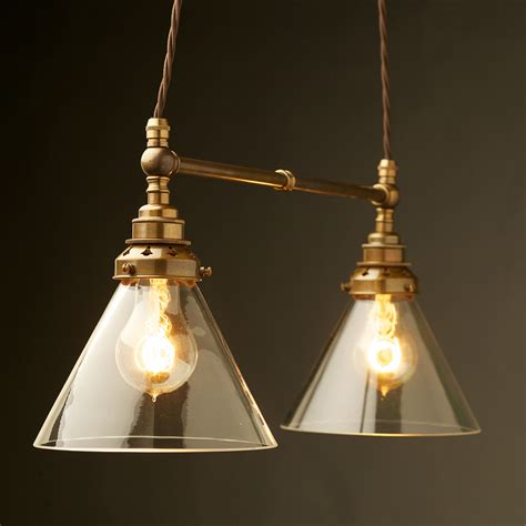 Pendant Glass Lights Two Light Shade Brass E27 Pendant