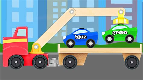 trucks kid big rig tow truck teaching colors learning colours