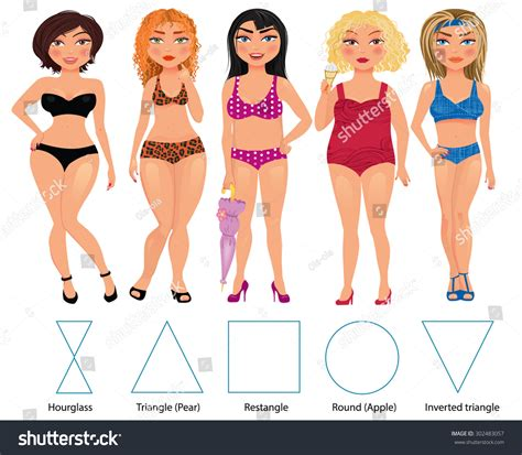 picture of inverted triangle shaped women with large belly five types woman figures hourglass triangle stock vector