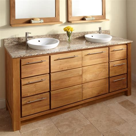 Wood Bathroom Cabinet And Double Granite Vanity Tops With