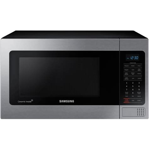 samsung 1 1 cu ft countertop microwave in stainless steel with ceramic enamel interior