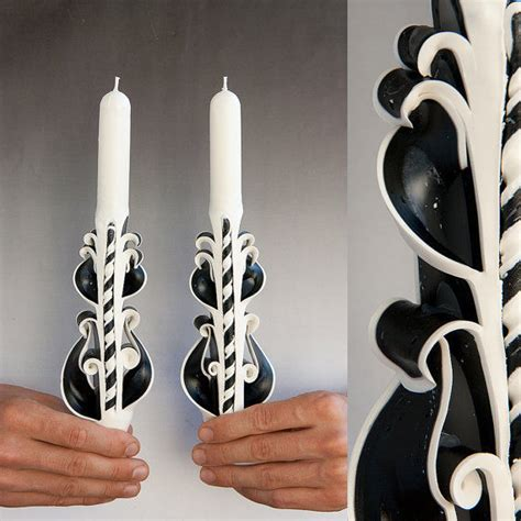 Handmade Taper Candles - black white handmade carved sculptured taper