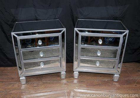 Mirrored Bedroom Chest Of Drawers pair mirrored bedside chests nightstands chest drawers