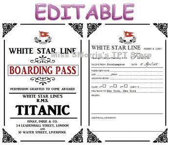 editable titanic passenger tickets! by sheena morris | tpt