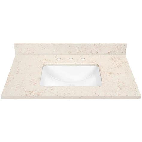 quartz bathroom vanity tops shop marbled beige quartz undermount bathroom vanity top