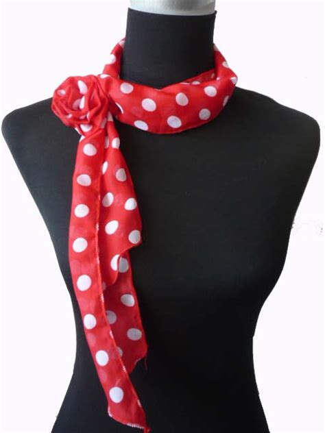 Checked Duvet Cover Fashionable Red And White Polka Dot Thin Long Scarf With