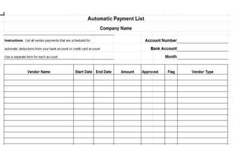 payment list template custom card template 187 credit card payment spreadsheet