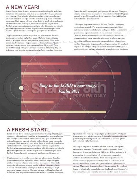 reset for the new year church newsletter template