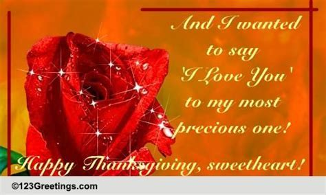 Happy Thanksgiving Sweetheart! Free Love eCards, Greeting