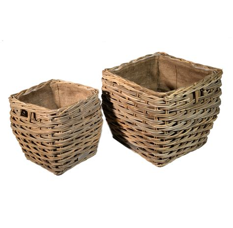 Lined Log Baskets For Fireplaces by Set Of 2 Square Grey Lined Log Storage Baskets Roudham