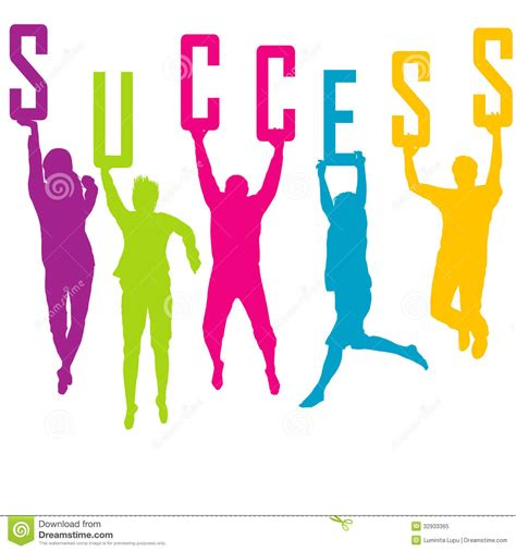 colored time success representation with colored silhoue stock
