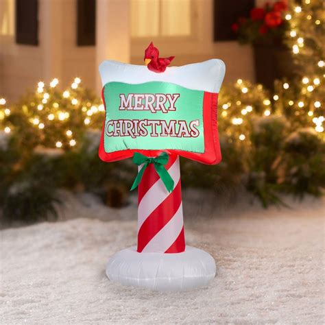 merry christmas sign decoration inflatable gemmy outdoor