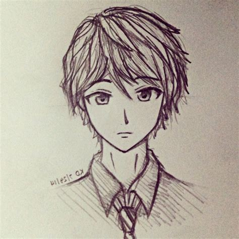 A Anime Drawing by Easy Anime Drawings In Pencil Boy Drawing Artistic