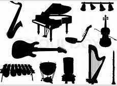 Collection of silhouettes of musical instruments | Stock ... Music Instruments Clipart Black And White