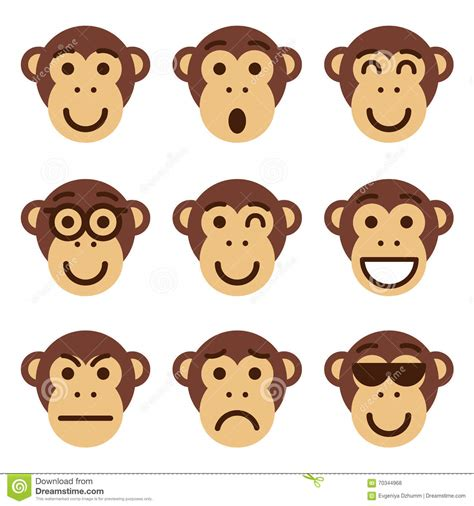 Monkey Set set of monkey emoticons monkey show different