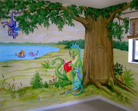 awesome reading dragon with the tree japa mural