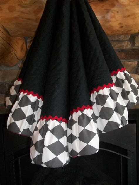 stunning black white and red christmas tree skirt 2013