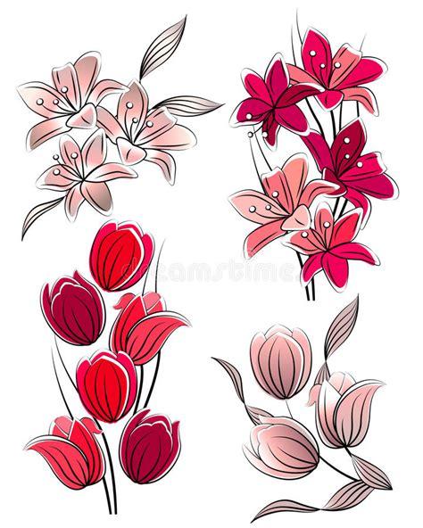 clipart vettoriali insieme dei fiori stilizzati illustrazione vettoriale