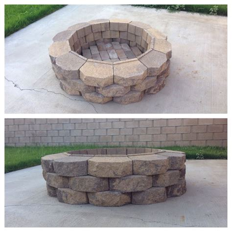 diy fire pit 36 retaining wall bricks home depot