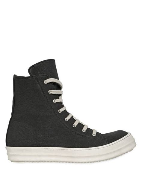 white rick owens sneakers rick owens drkshdw canvas high top sneakers in black for