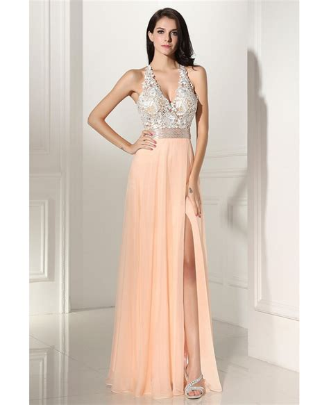 V Neck Prom Dress sleeveless lace v neck slit coral chiffon prom dress