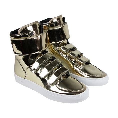 gold sneakers mens radii point mens gold leather high top lace up sneakers