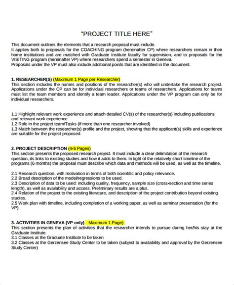 proposal format for research project sle research project template 7 free documents