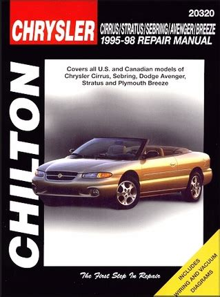 car repair manuals online pdf 1995 chrysler sebring navigation system cirrus sebring avenger stratus breeze repair manual 1995 1998