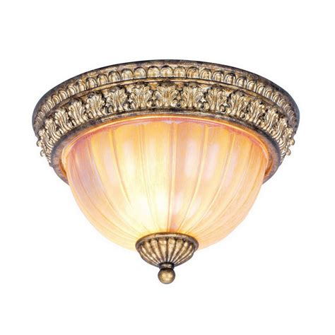 Gold Flush Mount Ceiling Light Shop Livex Lighting 11 In W Vintage Gold Leaf Ceiling Flush Mount At Lowes