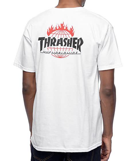 tshirt huf white huf x thrasher tds white t shirt zumiez
