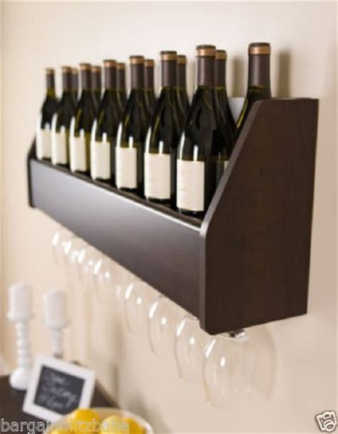 liquor wall rack floating wall wine rack bar art holder bottles glasses shelf liquor storage wood ebay home