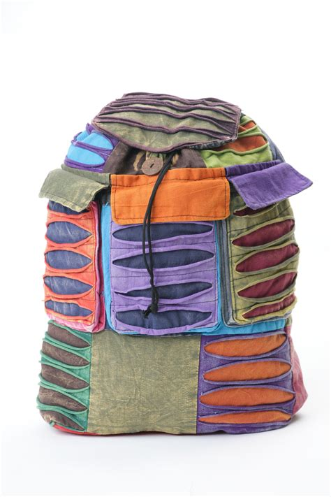 Patchwork Backpack - razor cut patchwork cotton backpack