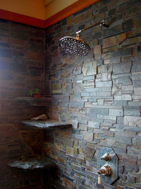 Bathroom Ceramic Tile Design Ideas by In Home Brazilian Slate Shower Room Contemporary