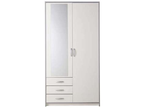 armoire 2 portes 3 tiroirs mars coloris blanc gris